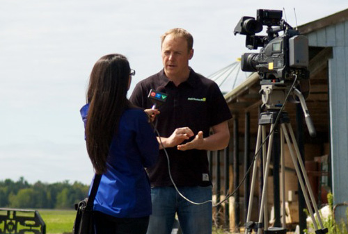 James being interviewed by CTV News